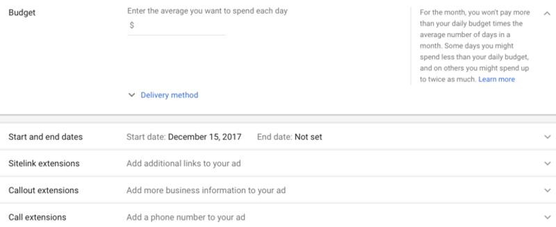 تعیین وبدجه برای تبلیغ در گوگل