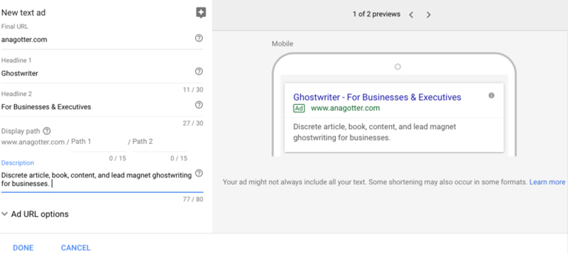 تعیین عنوان و توضیحات برای تبلیغ در گوگل