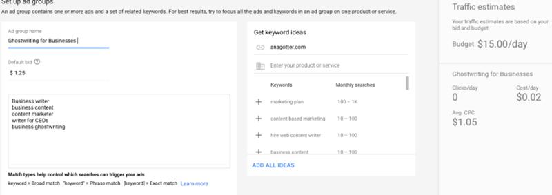 تعیین کلمات کلیدی برای تبلیغ در گوگل