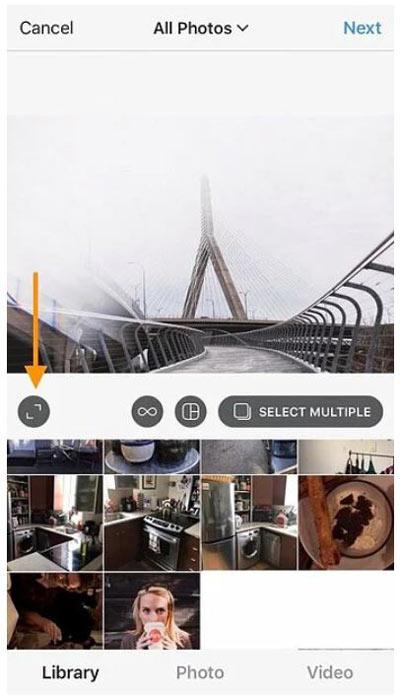 استفاده از آیکون تنظیم سایز تصاویر در اینستاگرام