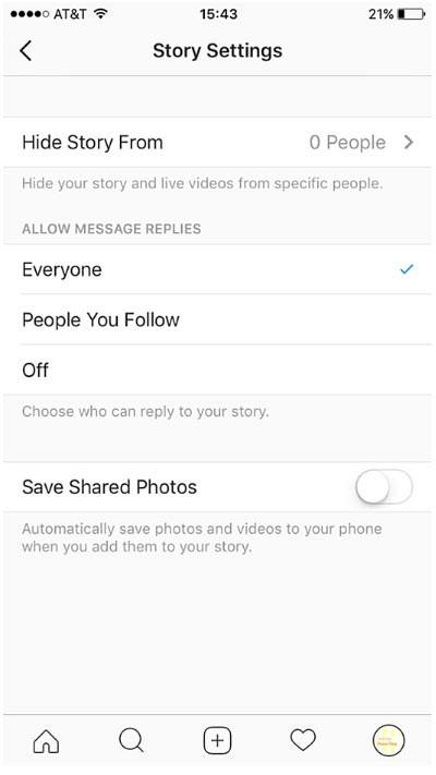 تنظیمات صفحه اینستاگرام