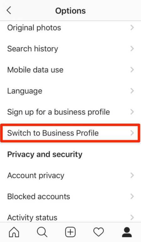 تغییر به یک حساب تجاری برای ایجاد فروشگاه در اینستاگرام