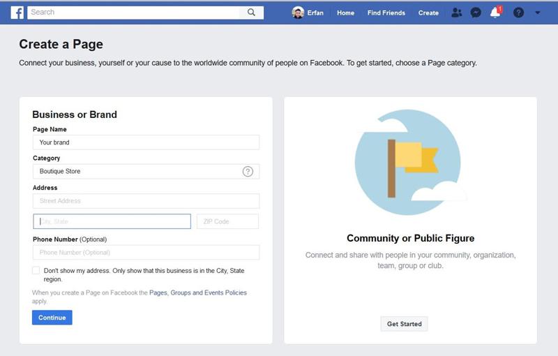 ساخت صفحه تجاری در فیسبوک